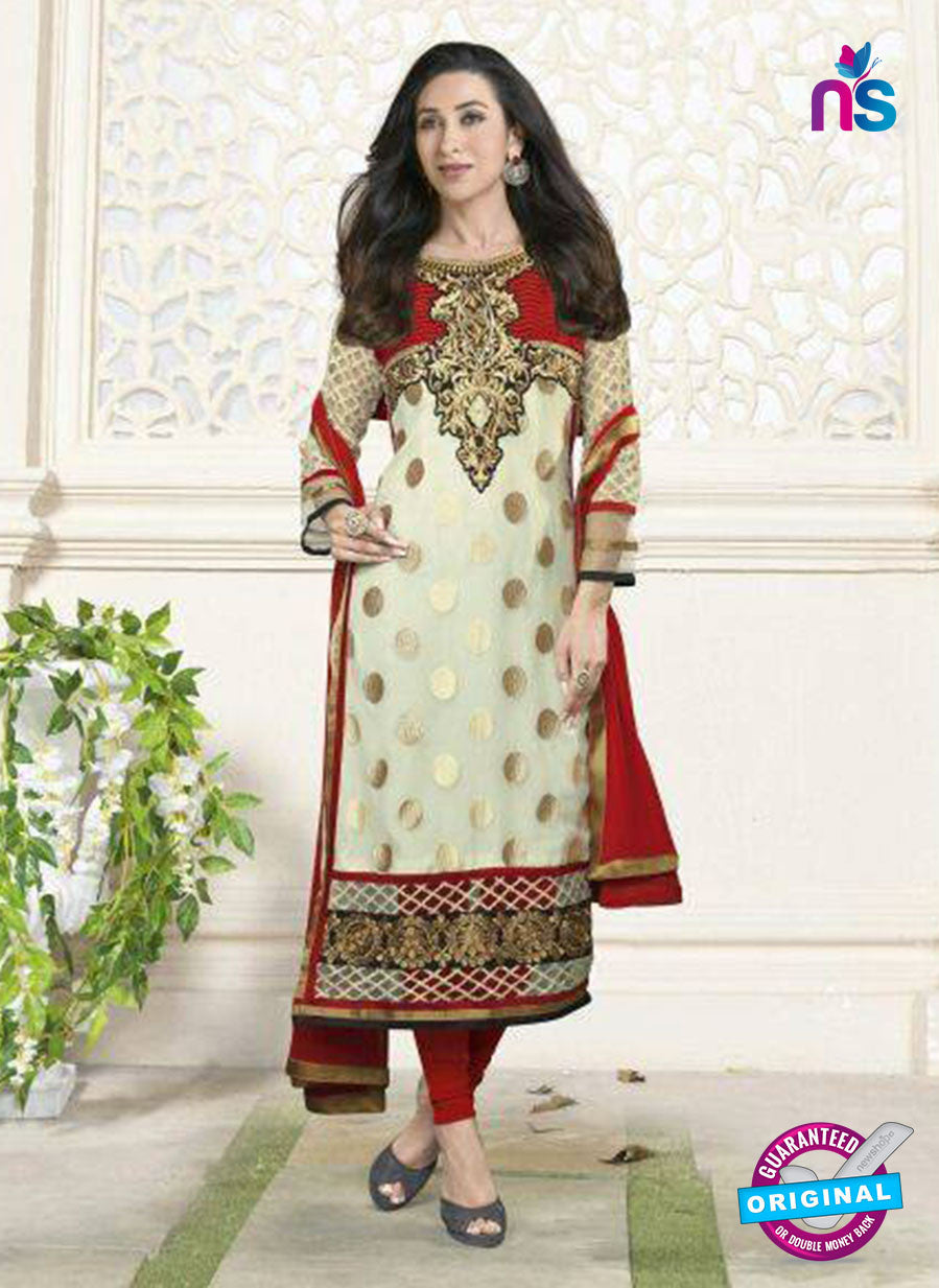 NS10855  B Ivory and Red Embroidered Georgette Straight Suit