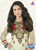 NS10855  B Ivory and Red Embroidered Georgette Straight Suit Online