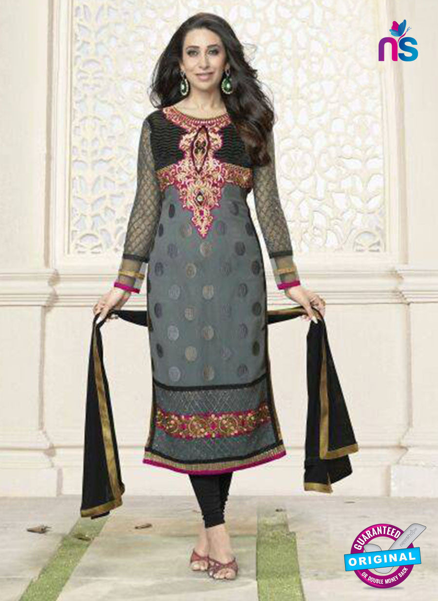 NS10860 H Magenta And Brown Embroidered Georgette Straight Suit