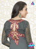 NS10860 H Grey Embroidered Georgette Straight Suit Online
