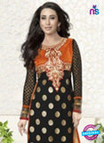NS10857  E Black & Orange Embroidered Georgette Straight Suit Online