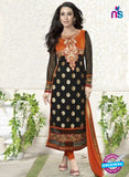 NS10857  E Orange and Black Embroidered Georgette Straight Suit