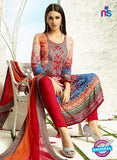 AZ 3341 Multicolor and Red Printed Cotton Satin Pakistani suit