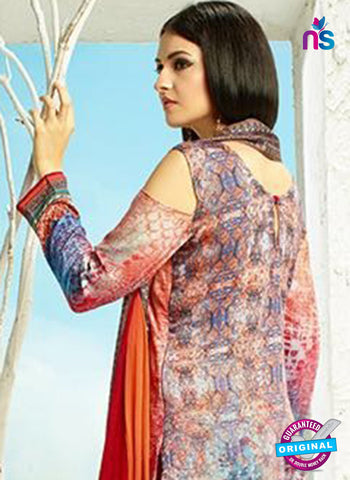 AZ 3341 Multicolor and Red Printed Cotton Satin Pakistani suit - Salwar Suits - NEW SHOP