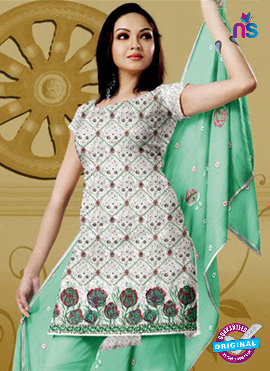 NS10769 Ivory and Light Spring Green Karachi Cotton Designer suit
