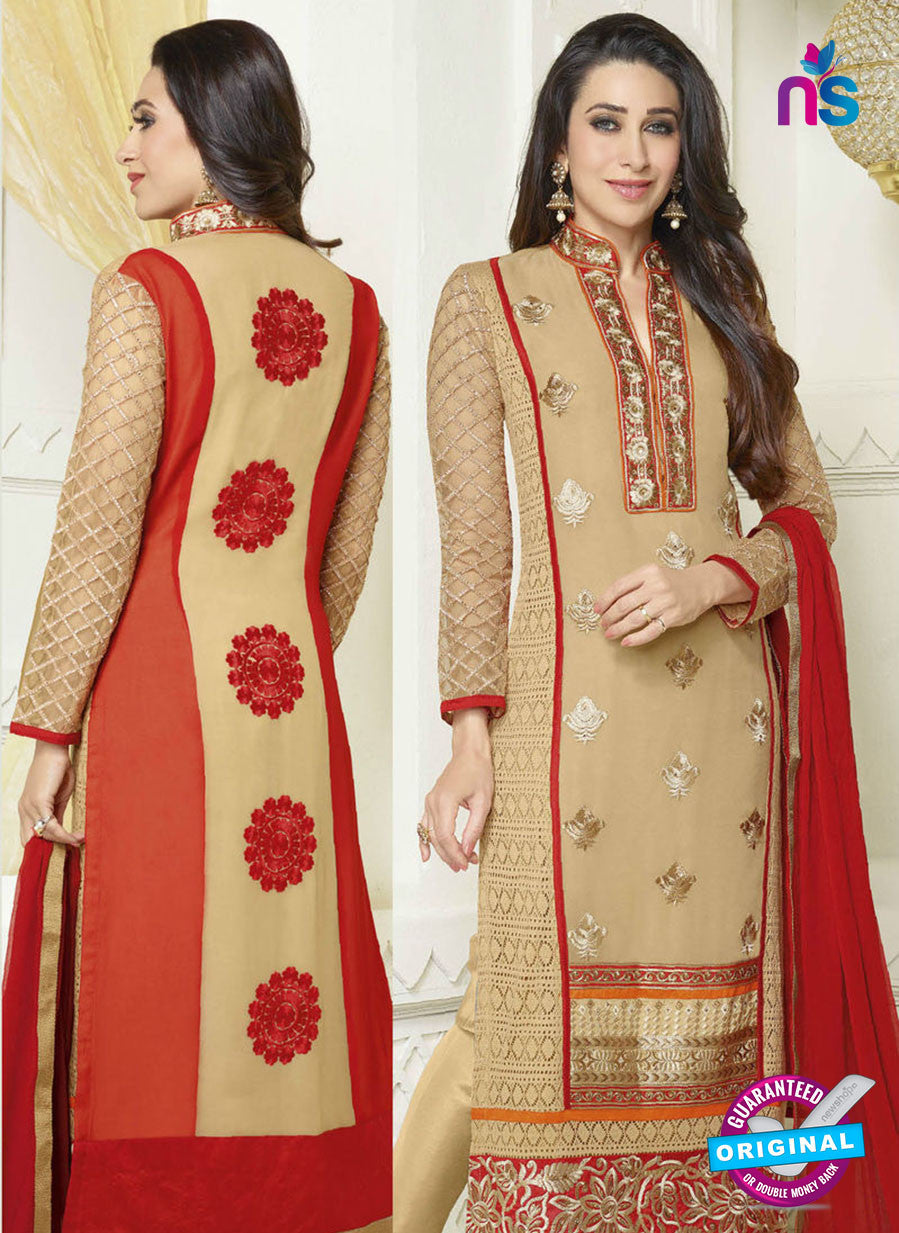 NS10511  Beige and Red Straight Suit