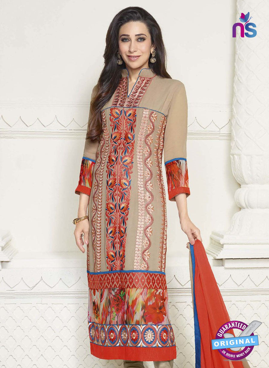 NS10512 Beige and Orange Straight Suit
