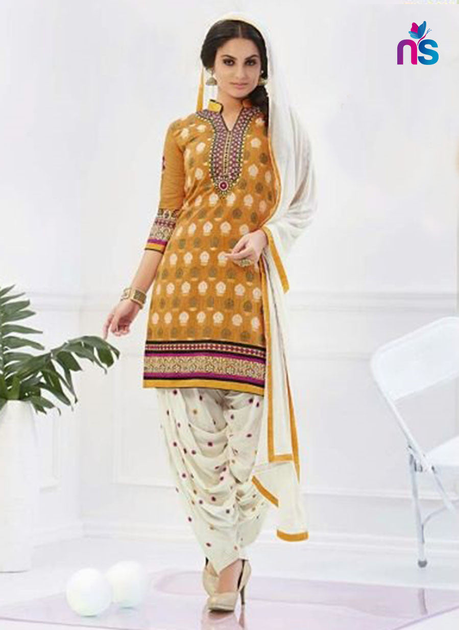 NS11281 Yellow and Ivory Party Wear Chanderi Patiayala Suit