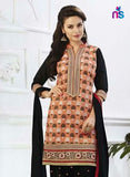 NS11283 LightRed and Black Party Wear Banarasi Jaccard Patiayala Suit