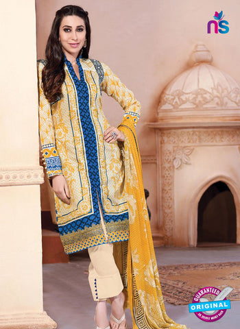 NS10871 Yellow And Blue Lawn Cotton Pakistani Suit