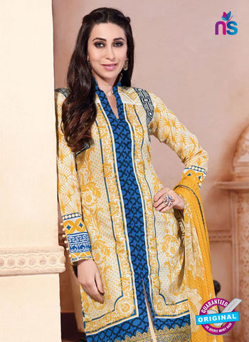 NS10871 Yellow And Blue Lawn Cotton Pakistani Suit Online