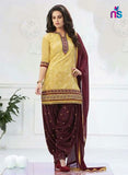 NS11284 Yellow and CoffeeBrown Party Wear Banarasi Jaccard Patiayala Suit