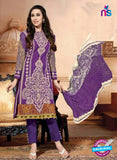 NS10872  Purple And White Lawn Cotton Pakistani Suit