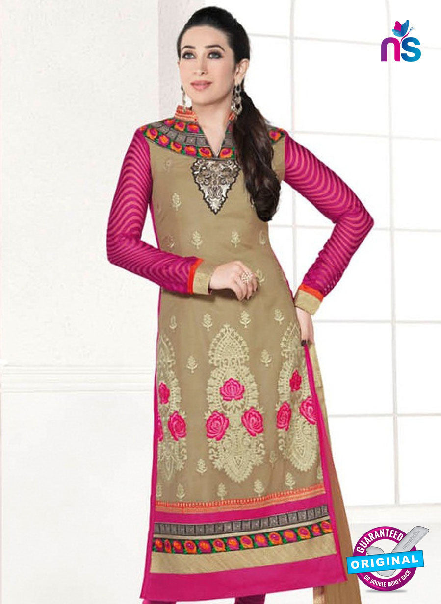 NS10853 Light Brown and Deep Magenta Heavy Georgette Straight Suit