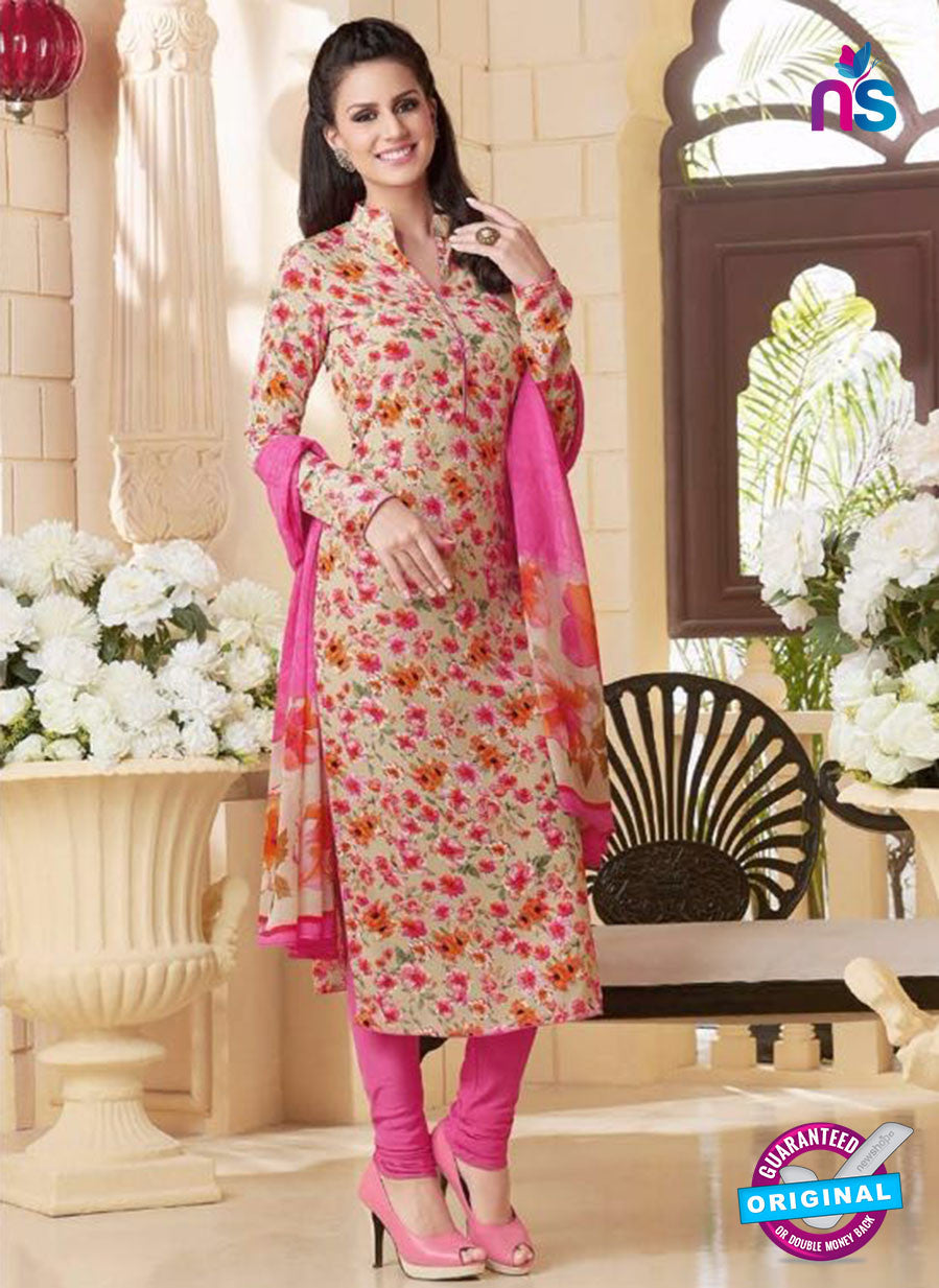 Rakhi 5180A Beige and Pink Crape Party Wear Suit