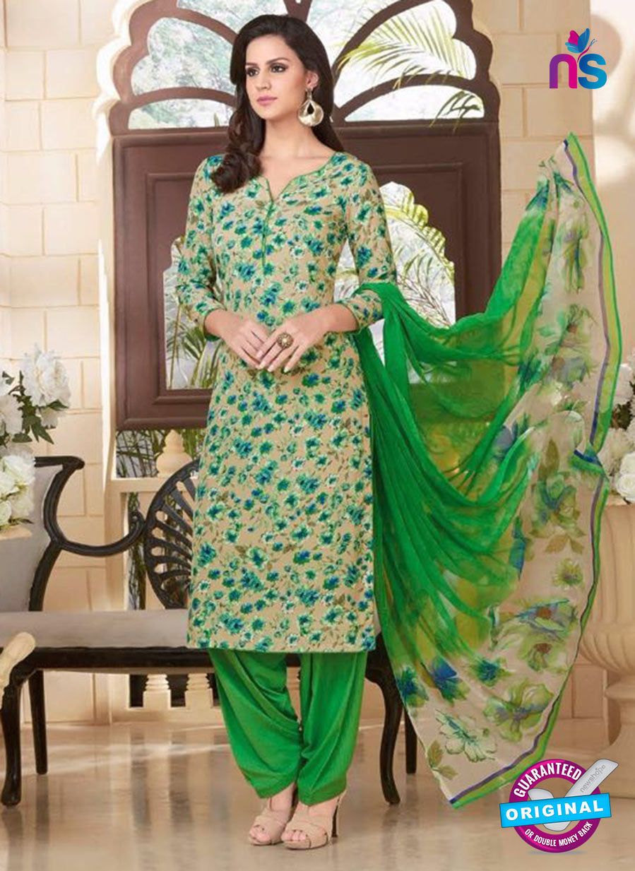 Rakhi 5180B Beige and Green Crape Party Wear Suit