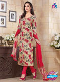 Rakhi 5184B Beige and Red Crape Party Wear Suit