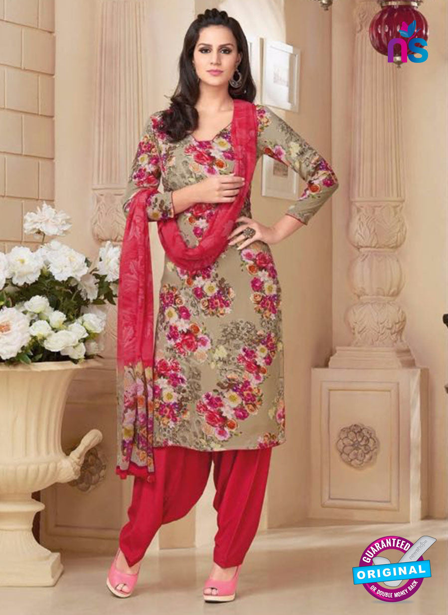 Rakhi 5187A Beige and Red Crape Party Wear Suit
