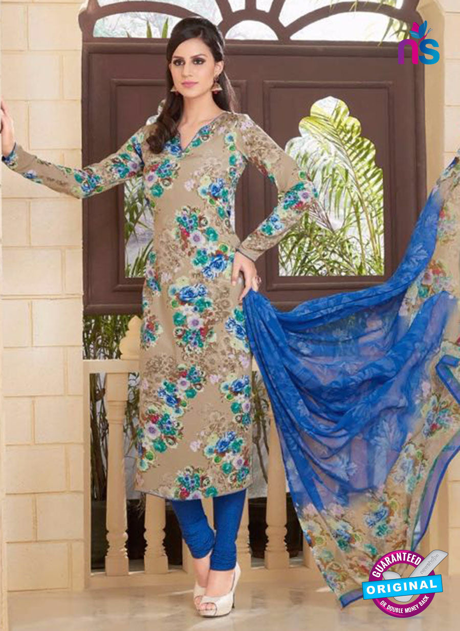 Rakhi 5187B Beige and Blue Crape Party Wear Suit