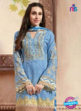 NS10873 Sky Blue And Ivory Lawn Cotton Pakistani Suit