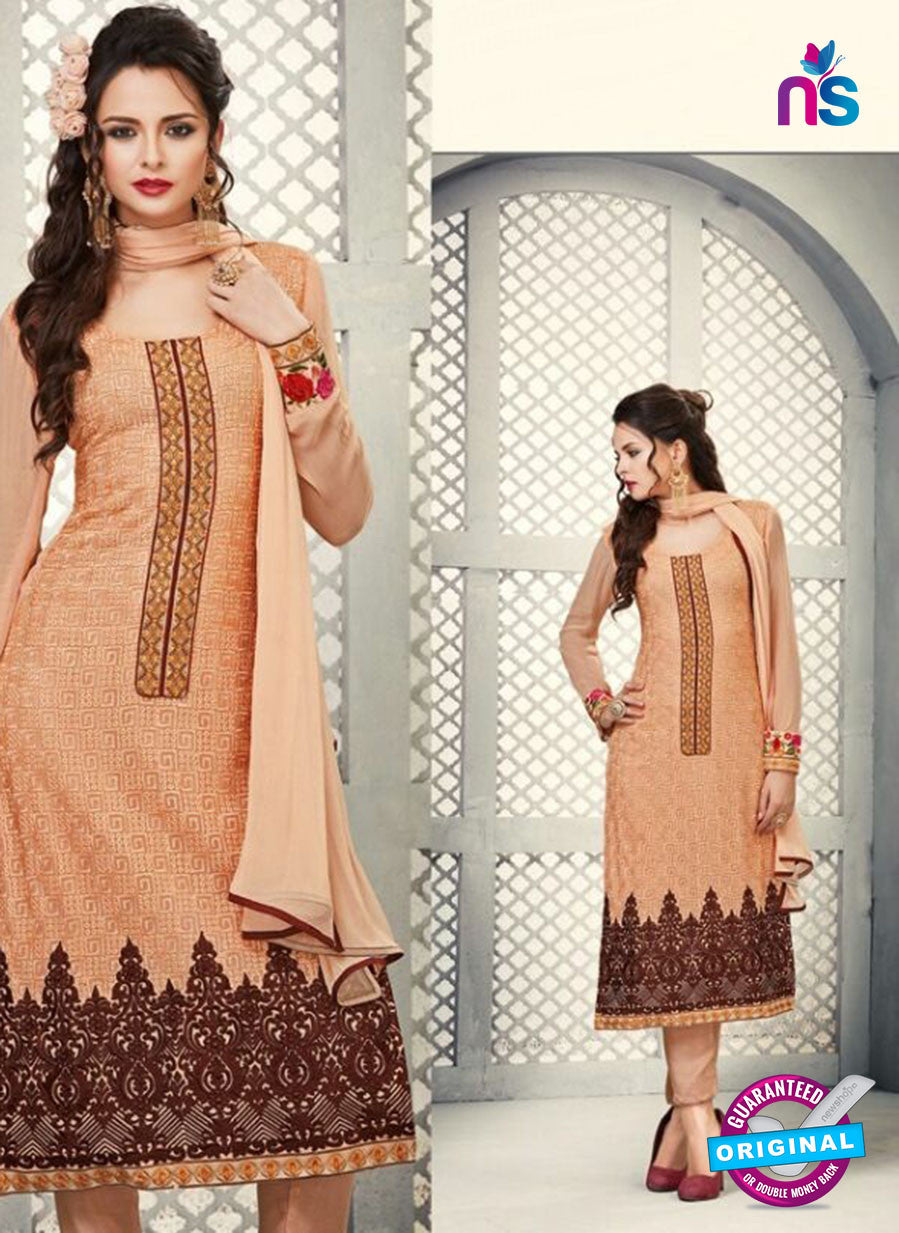 AZ 2262 Peach Embroidery Faux Georgette Party Wear Suit