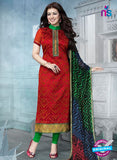 SC 12935 Red and Green Embroidered Cotton Jacquard Straight Suit