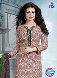 SC 12936 Beige and Maroon Embroidered Cotton Jacquard Straight Suit
