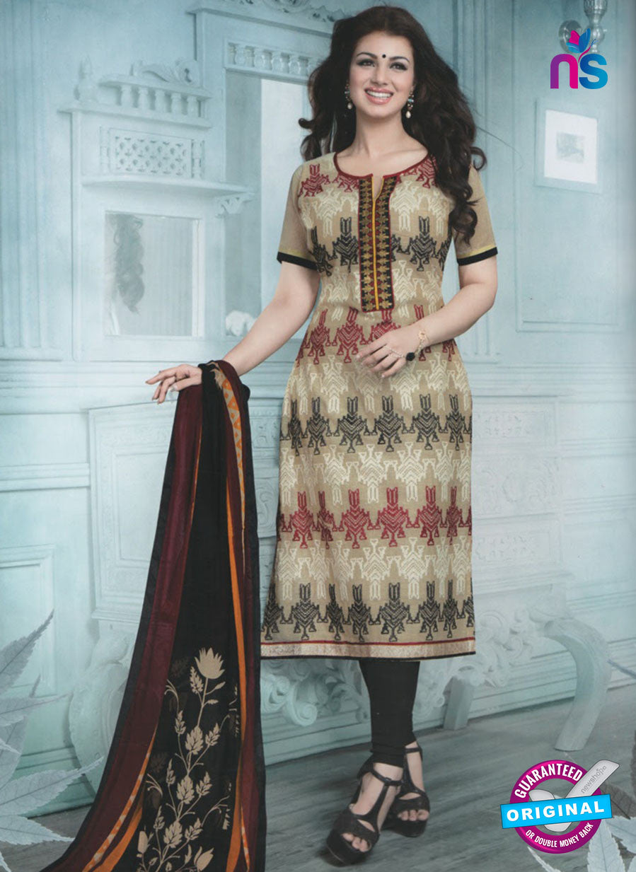 SC 12937 Beige, Red and Black Embroidered Cotton Jacquard Straight Suit