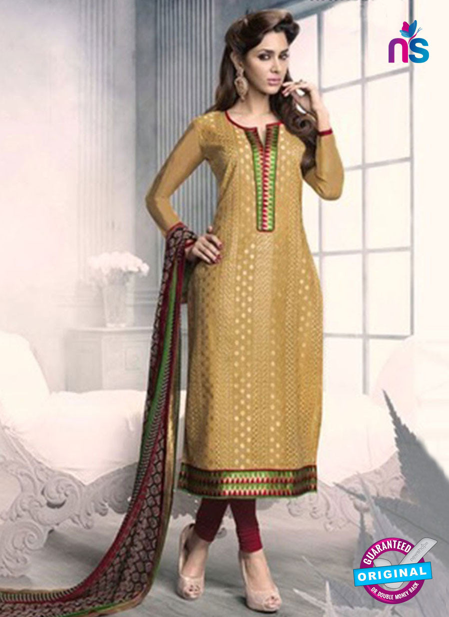 SC 12938 Brown, Maroon and Green Embroidered Cotton Jacquard Straight Suit
