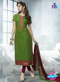 SC 12939 Green and Maroon Embroidered Cotton Jacquard Straight Suit