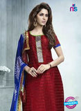 SC 12940 Maroon and Blue Embroidered Cotton Jacquard Straight Suit