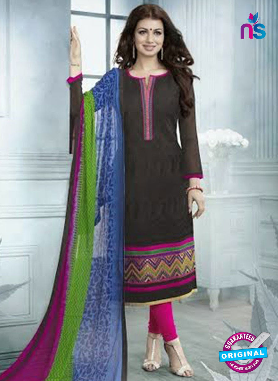 SC 12941 Black and Pink Embroidered Cotton Jacquard Straight Suit