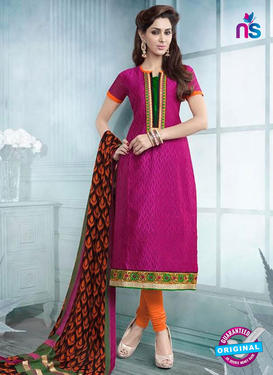 SC 12942  Pink, Orange and Green Embroidered Cotton Jacquard Straight Suit