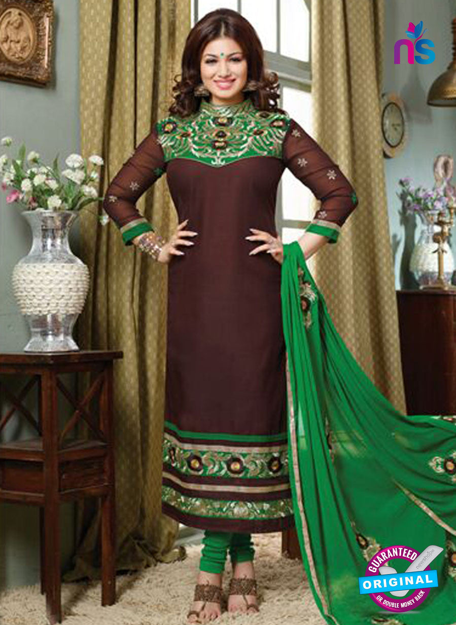 NS10122 Brown and Green Cotton Straight Suit