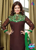 NS10122 Brown and Green Cotton Straight Suit Online