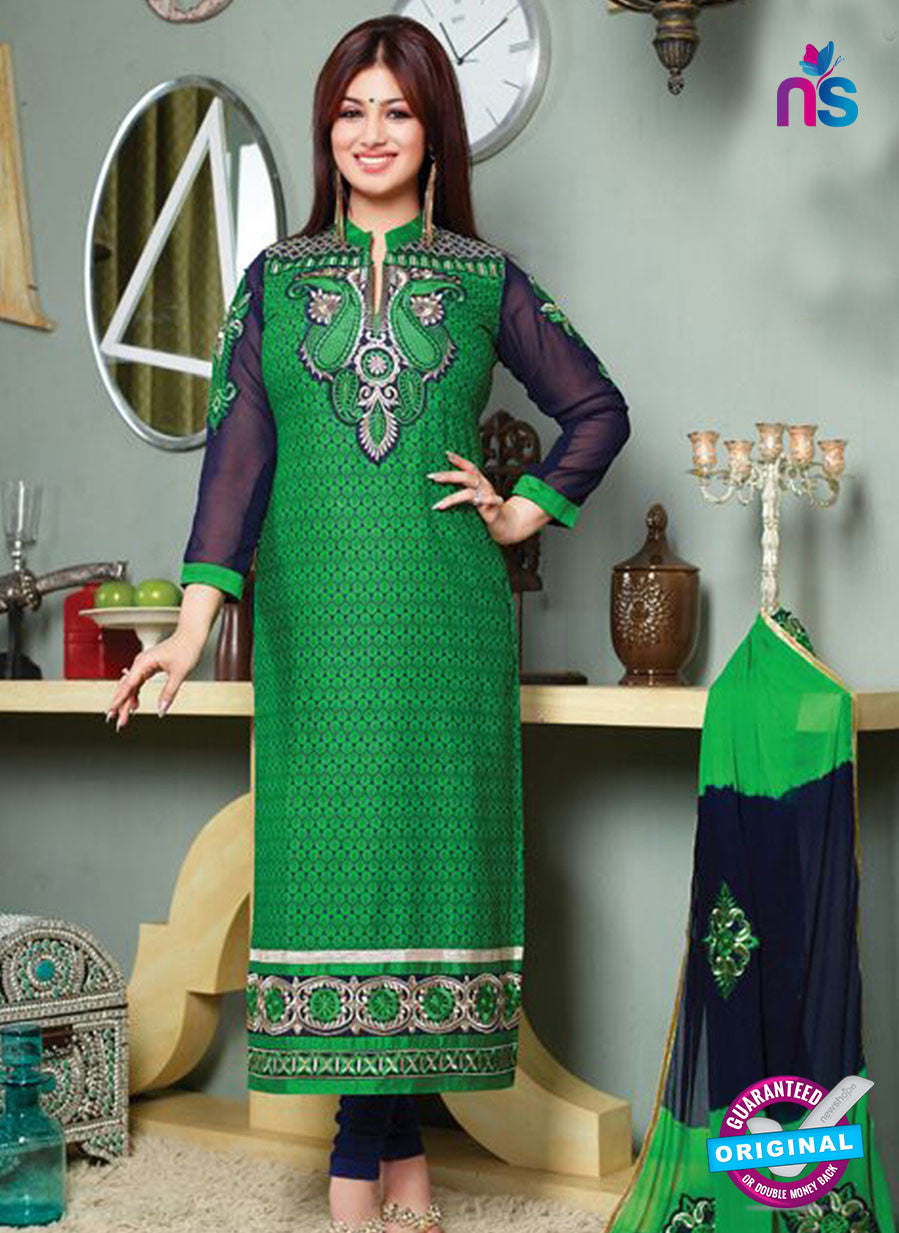 NS10123 Green and Blue Cotton Straight Suit