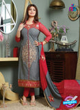 NS10124 Gray and Red Cotton Straight Suit