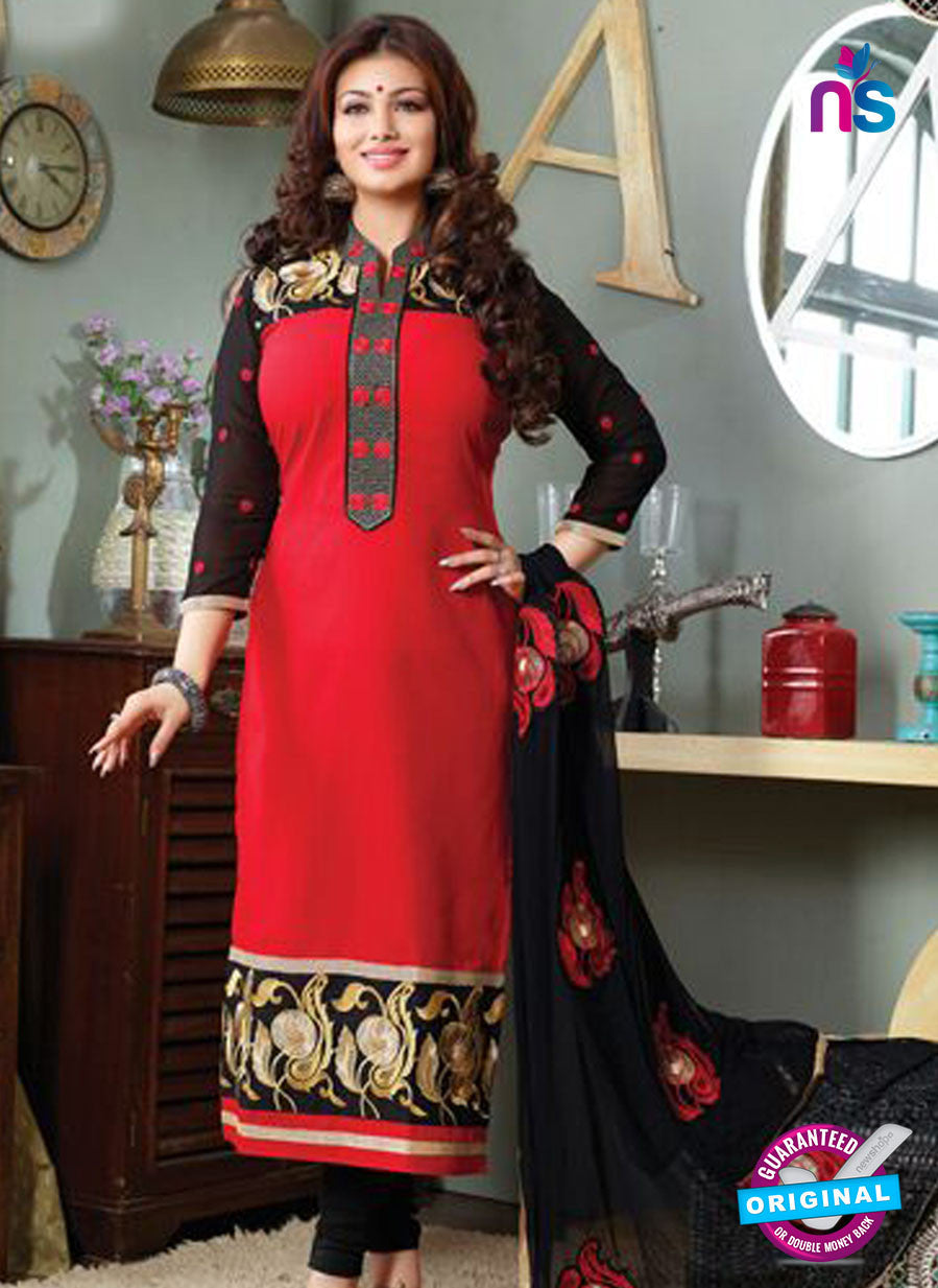 NS10125 Red and Black Cotton Straight Suit