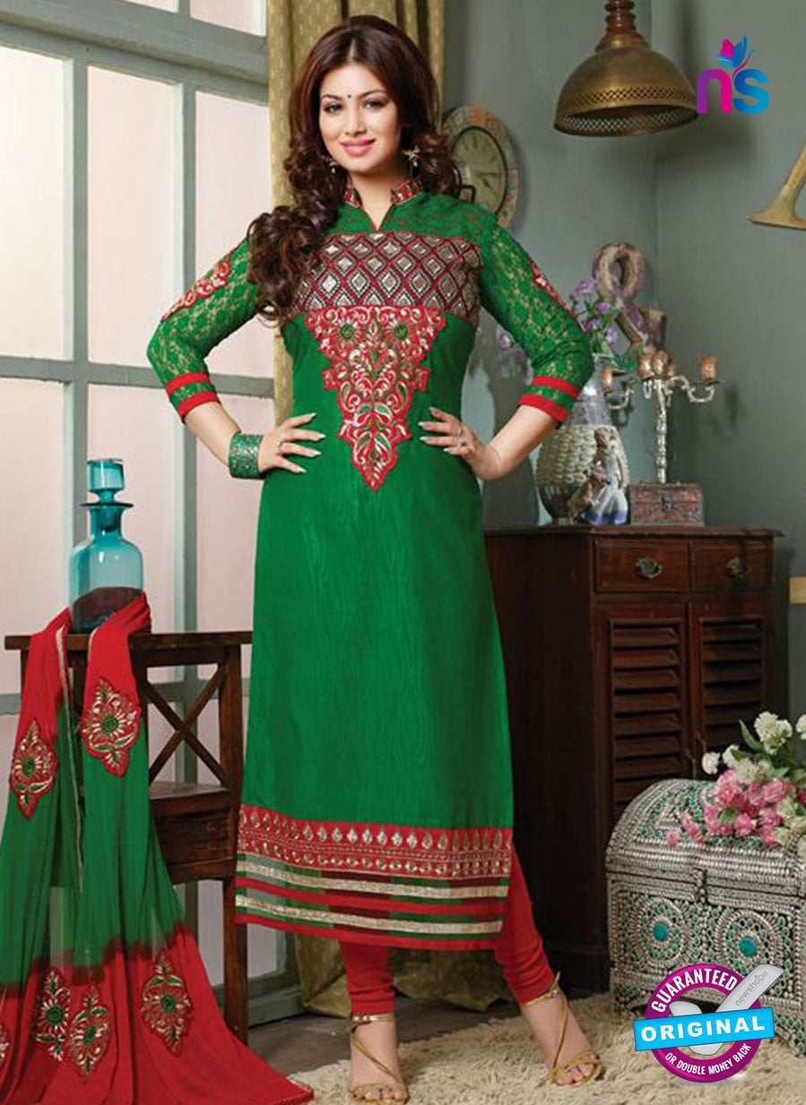 NS10126 Green and Red Cotton Straight Suit
