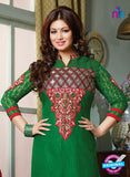 NS10126 Green and Red Cotton Straight Suit Online