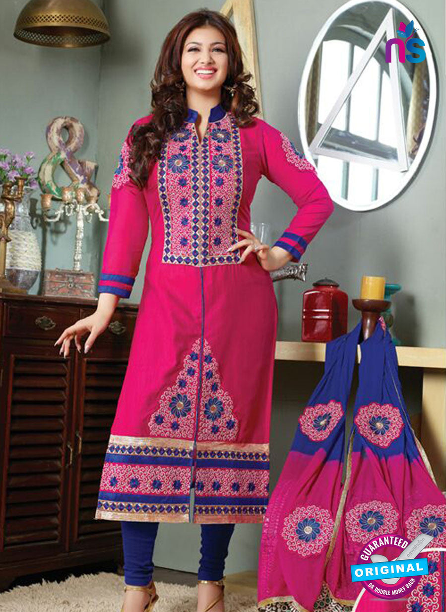 NS10127 Pink and Blue Cotton Straight Suit