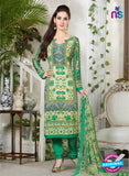 Rakhi 5229 B Beige and Green Printed Crepe Casual Suit