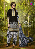 NS11286 Black and White Party Wear Pure Cotton Patiala Suit