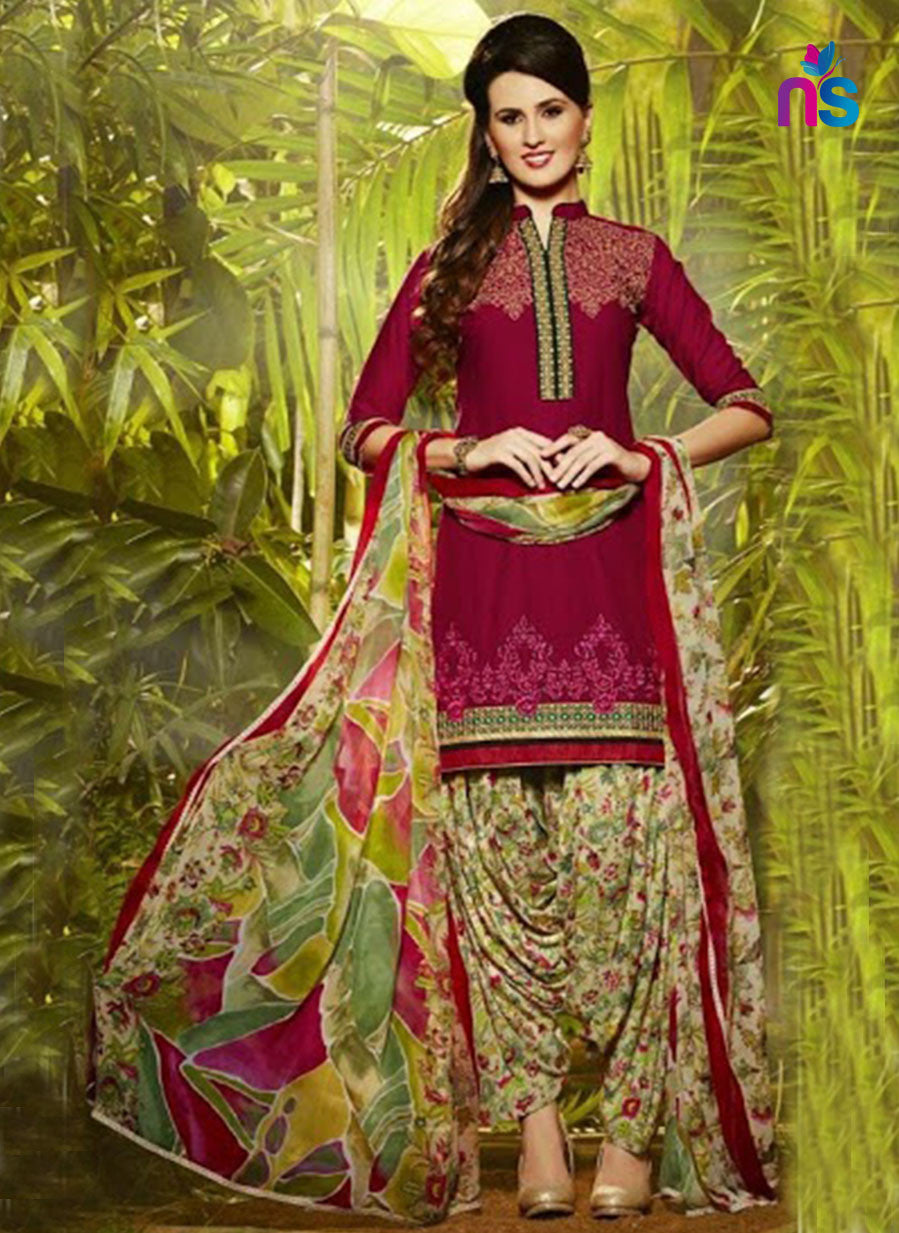 Patiala 5254 CrimsonRed and Beige Party Wear Pure Cotton Patiala Suit