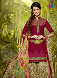 Patiala 5254 Maroon and Multicolor Party Wear Pure Cotton Patiala Suit
