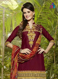 NS11288 Maroon and Red Party Wear Pure Cotton Patiala Suit