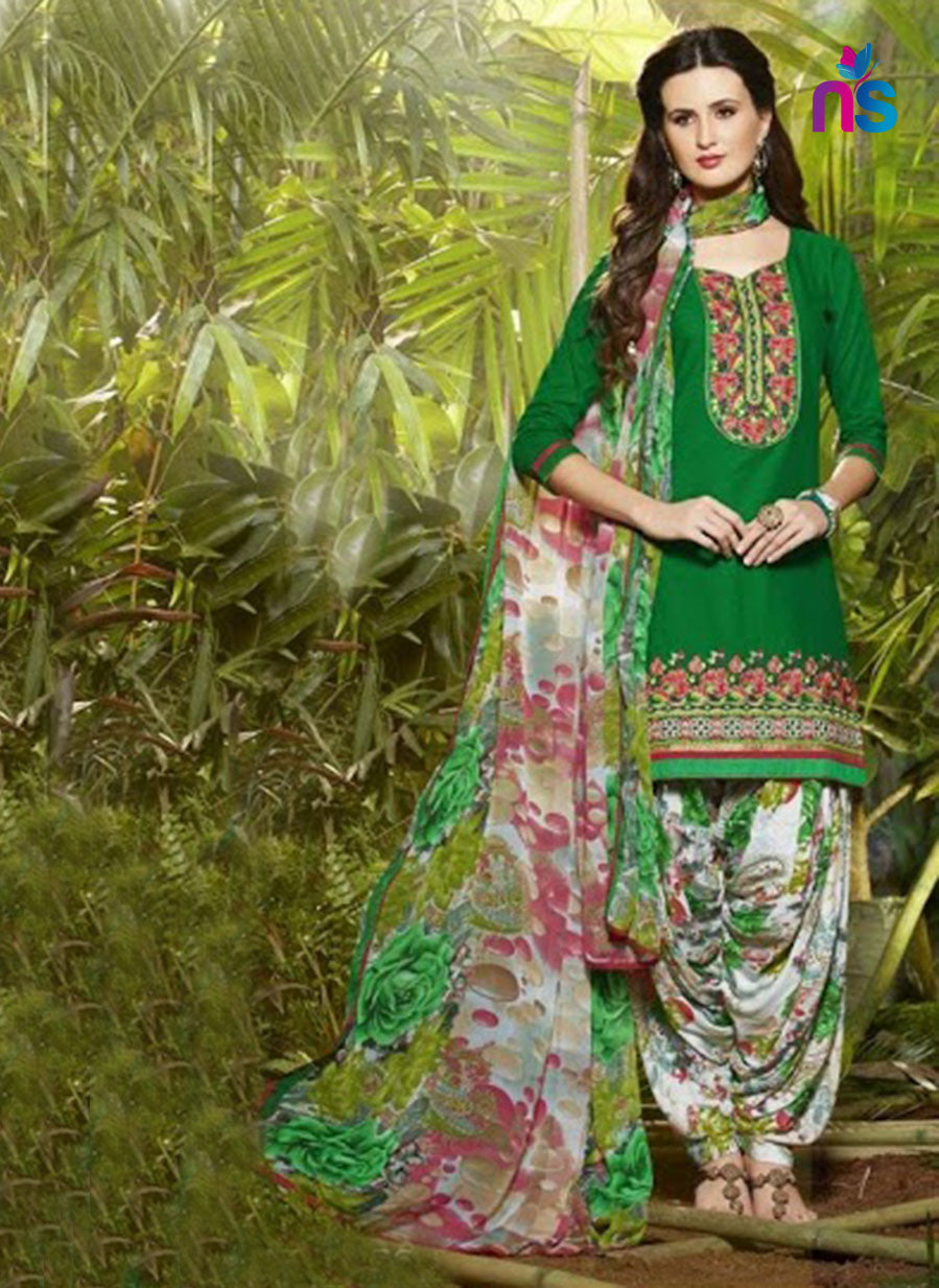 NS11289 Green and White Party Wear Pure Cotton Patiala Suit