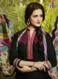 Black and Ivory Party Wear Pure Cotton Patiala Suit Online