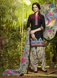 Black and Ivory Party Wear Pure Cotton Patiala Suit