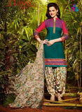 NS11291 DarkSeaGreen and Beige Party Wear Pure Cotton Patiala Suit